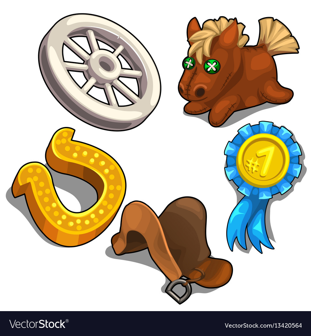 Set of items on theme of horse racing