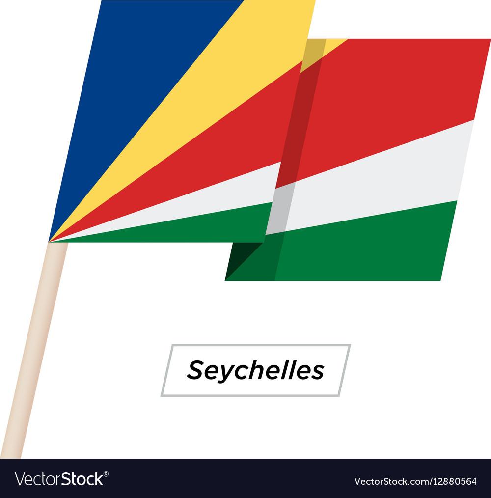 Seychelles Ribbon Waving Flag Isolated on White