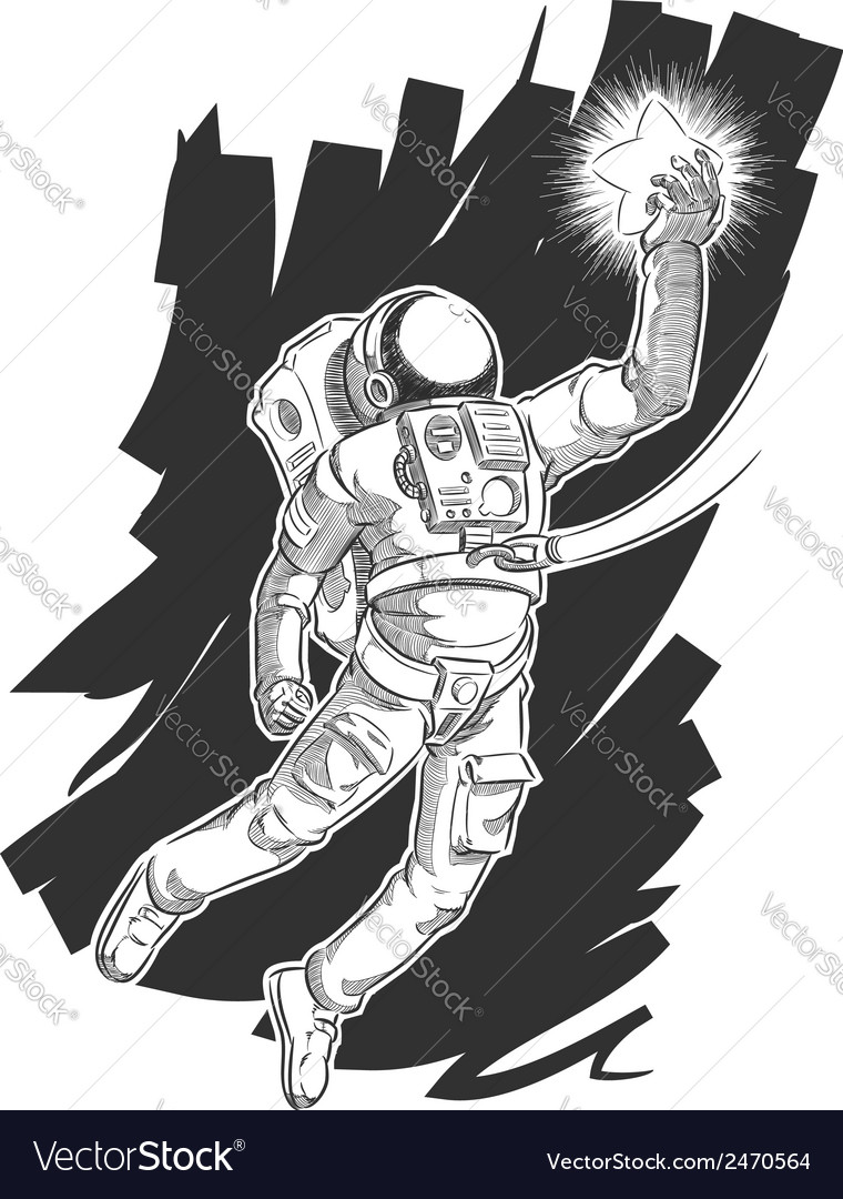 Sketch of Astronaut or Spaceman Grabbing a Star vector image