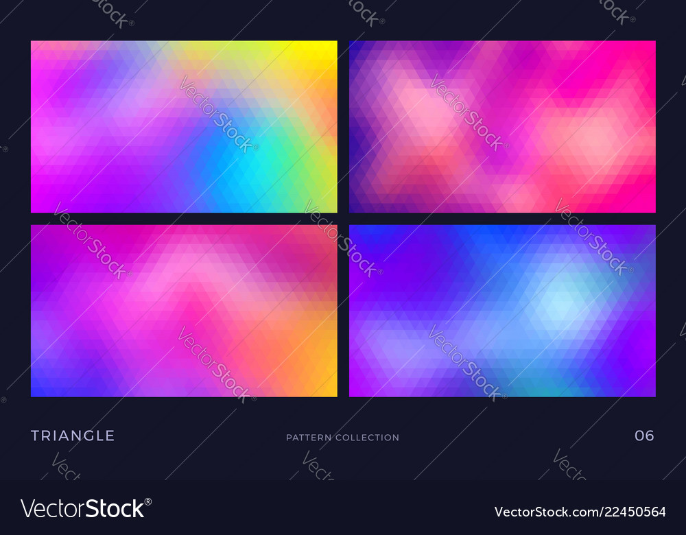 Triangle mosaic backgrounds set colorful