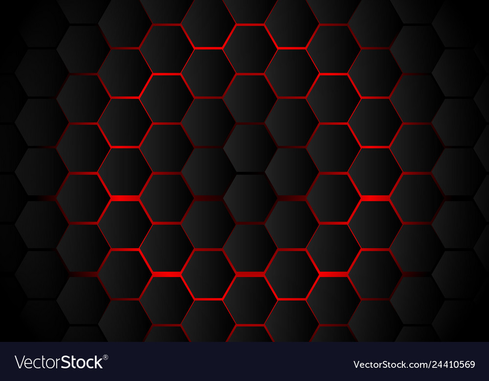 Abstract black hexagon pattern on red neon