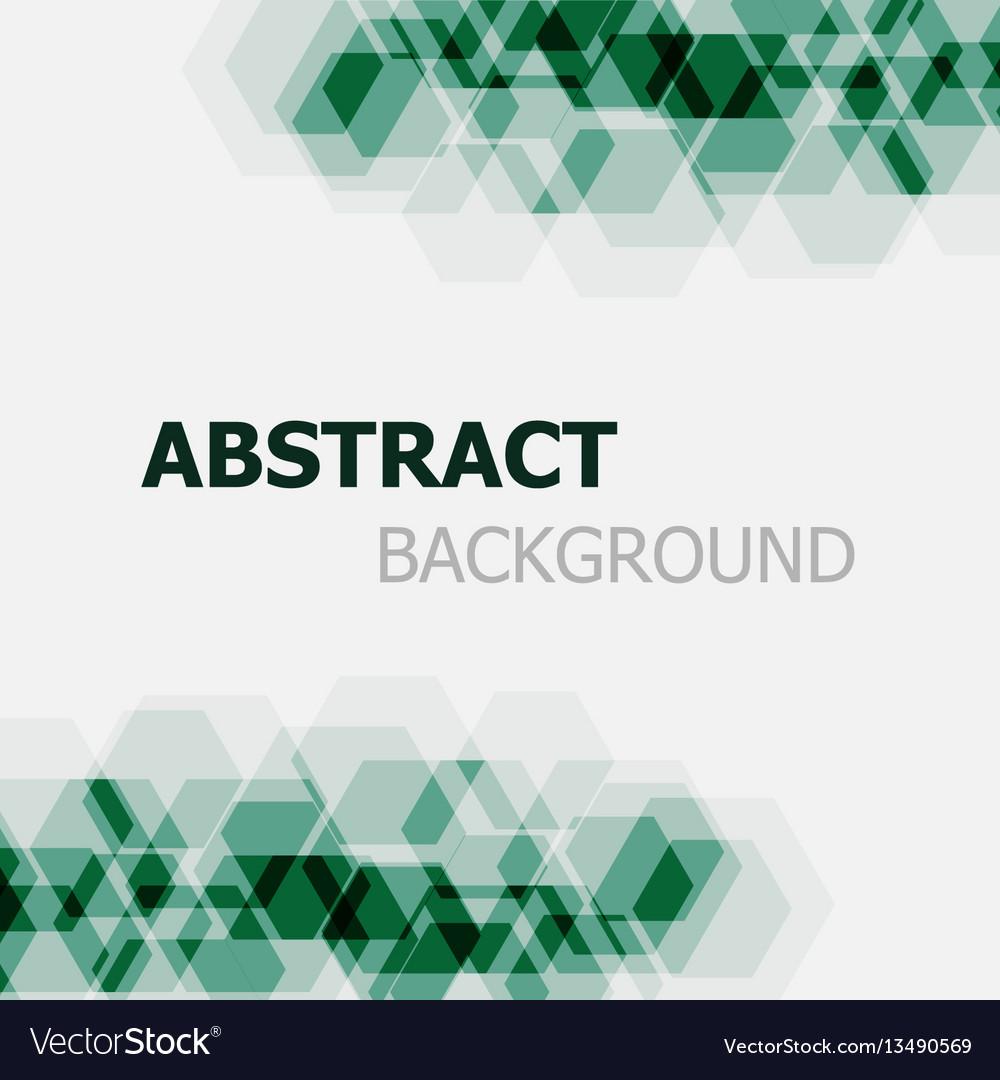 Abstract dark green hexagon overlapping background vector image