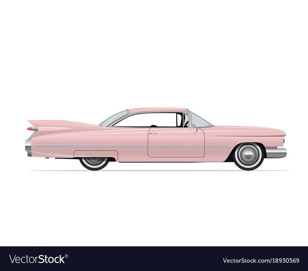 Classic american vintage pink car Royalty Free Vector Image
