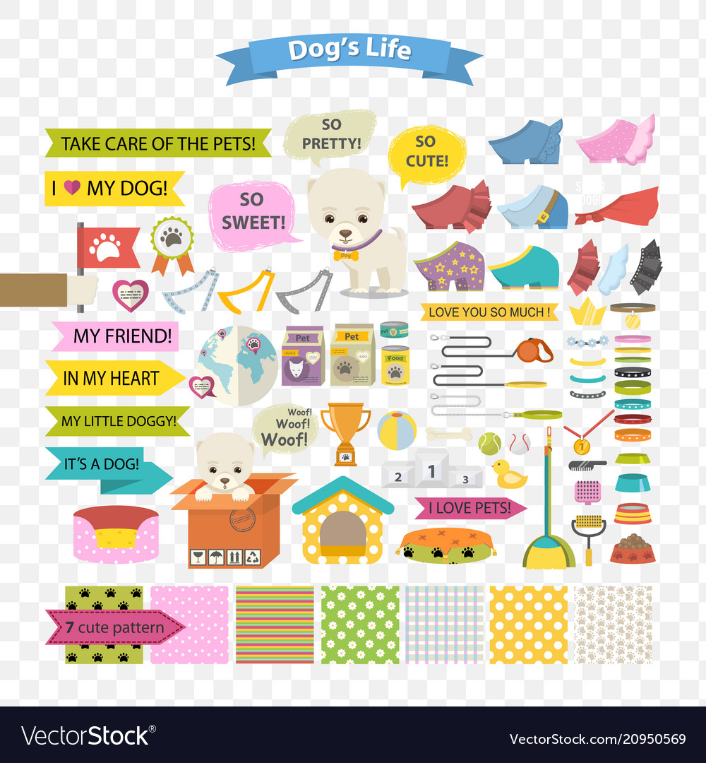 Dog and care cartoon element vector image