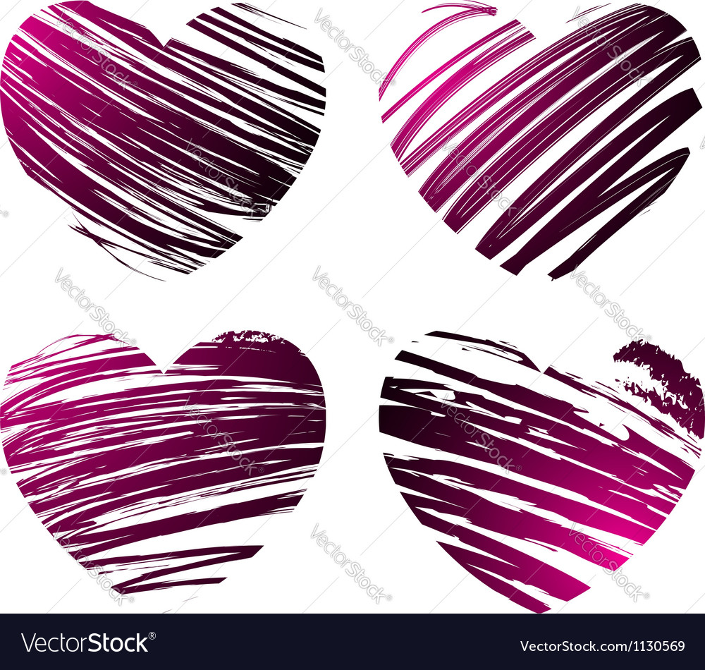 Grunge hearts 2 vector image