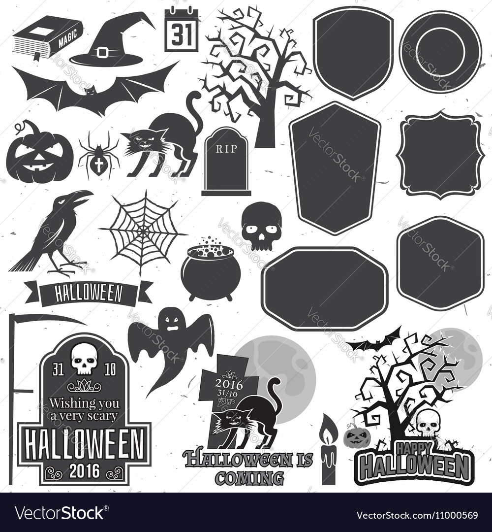 Halloween vintage icon emblem or label