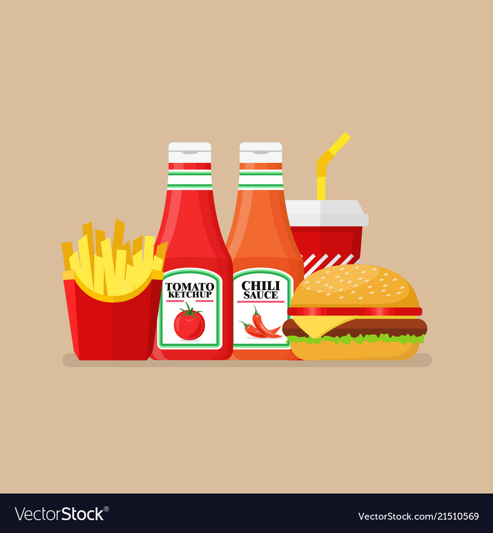 Hamburger french fries and soda with tomato and