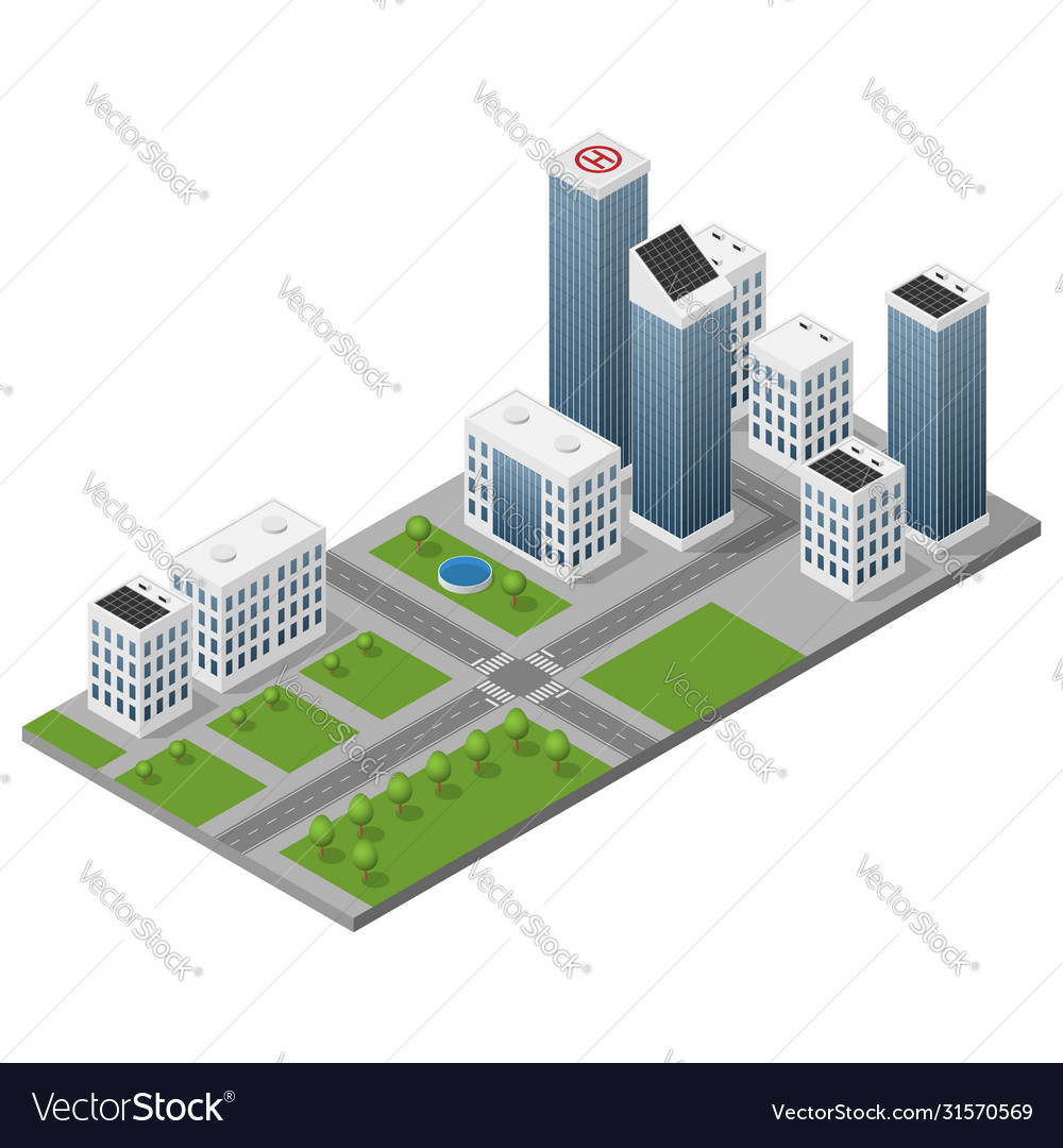 Isometric isolated modern city
