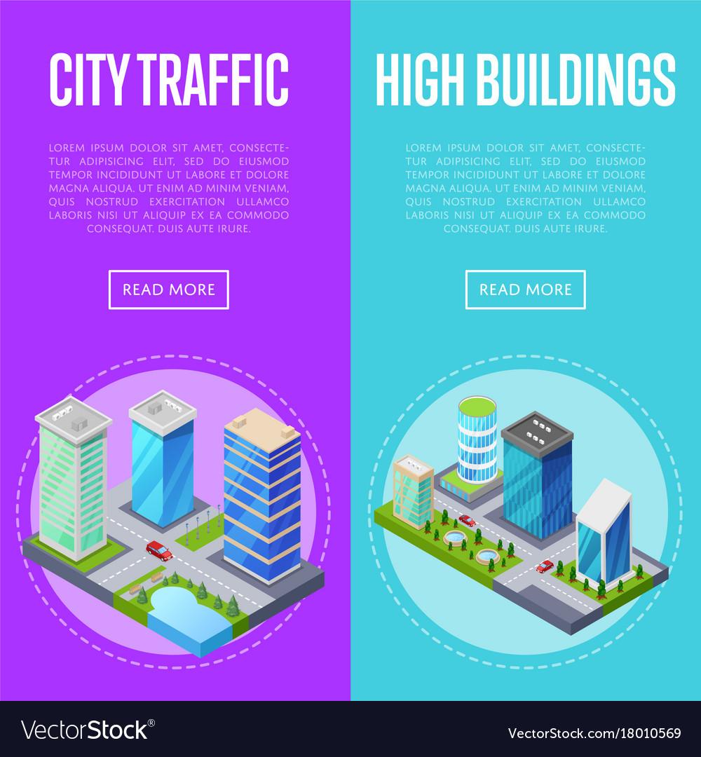 Modern city traffic banners set