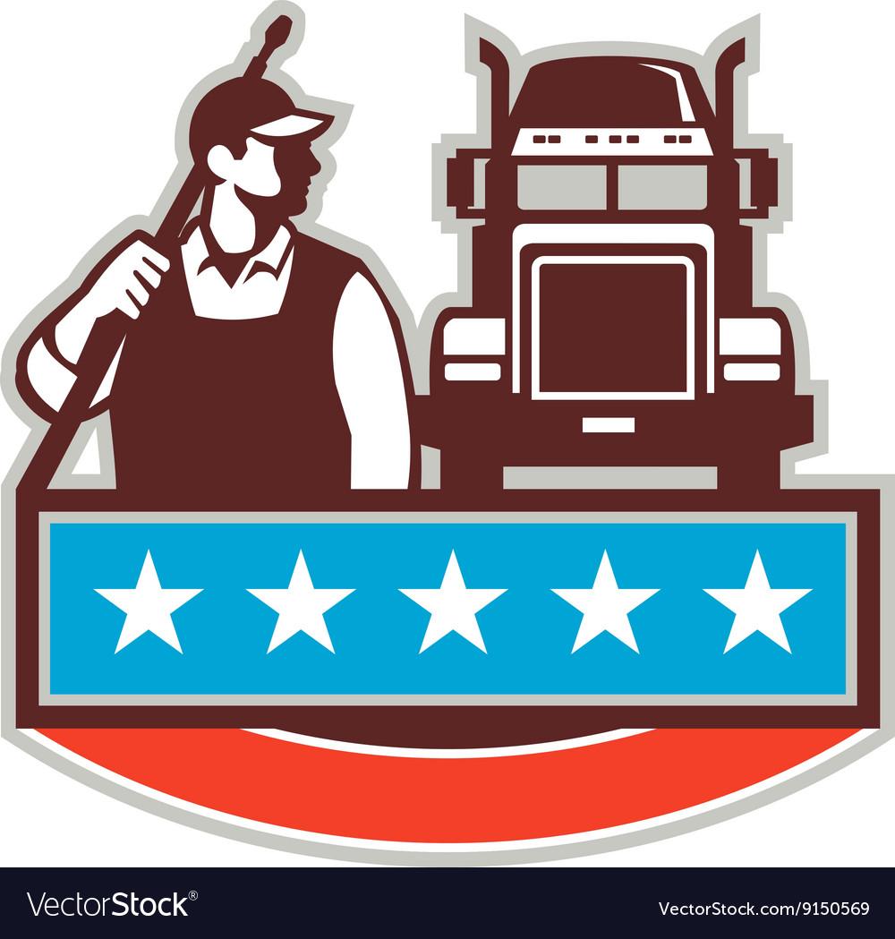 Pressure Washer Worker Truck USA Flag Retro vector image
