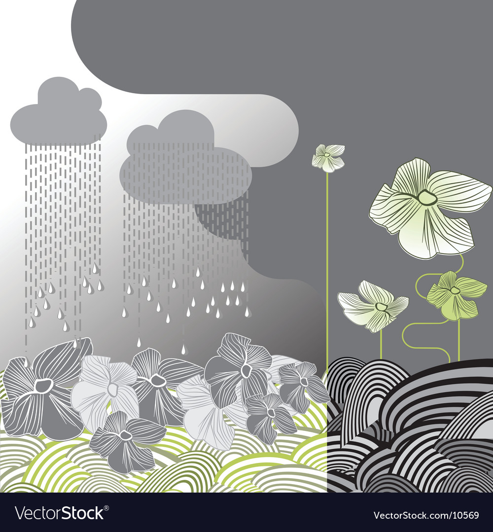 Rainy day flowers vector image