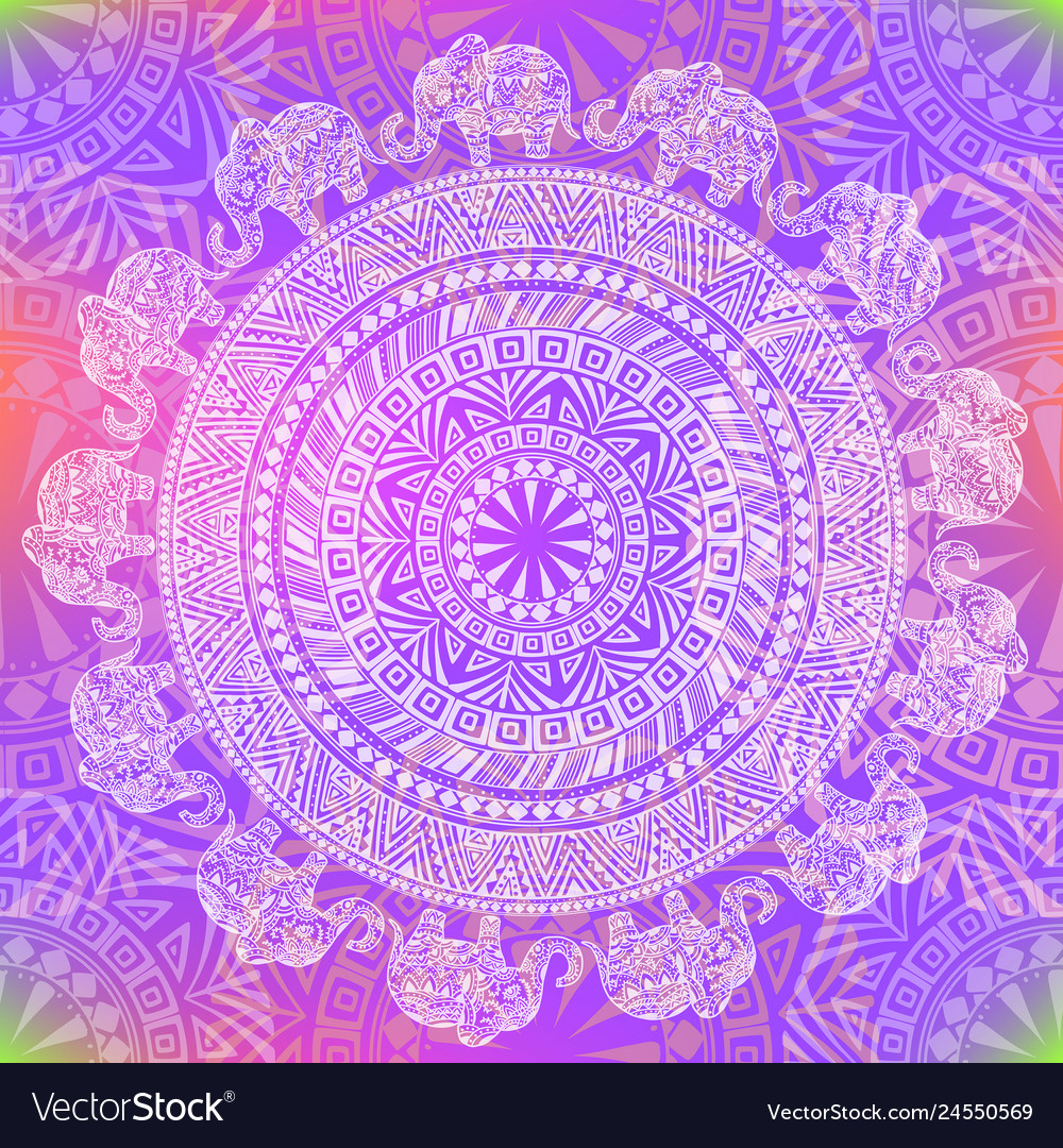 Seamless color pattern with ethnic elements and