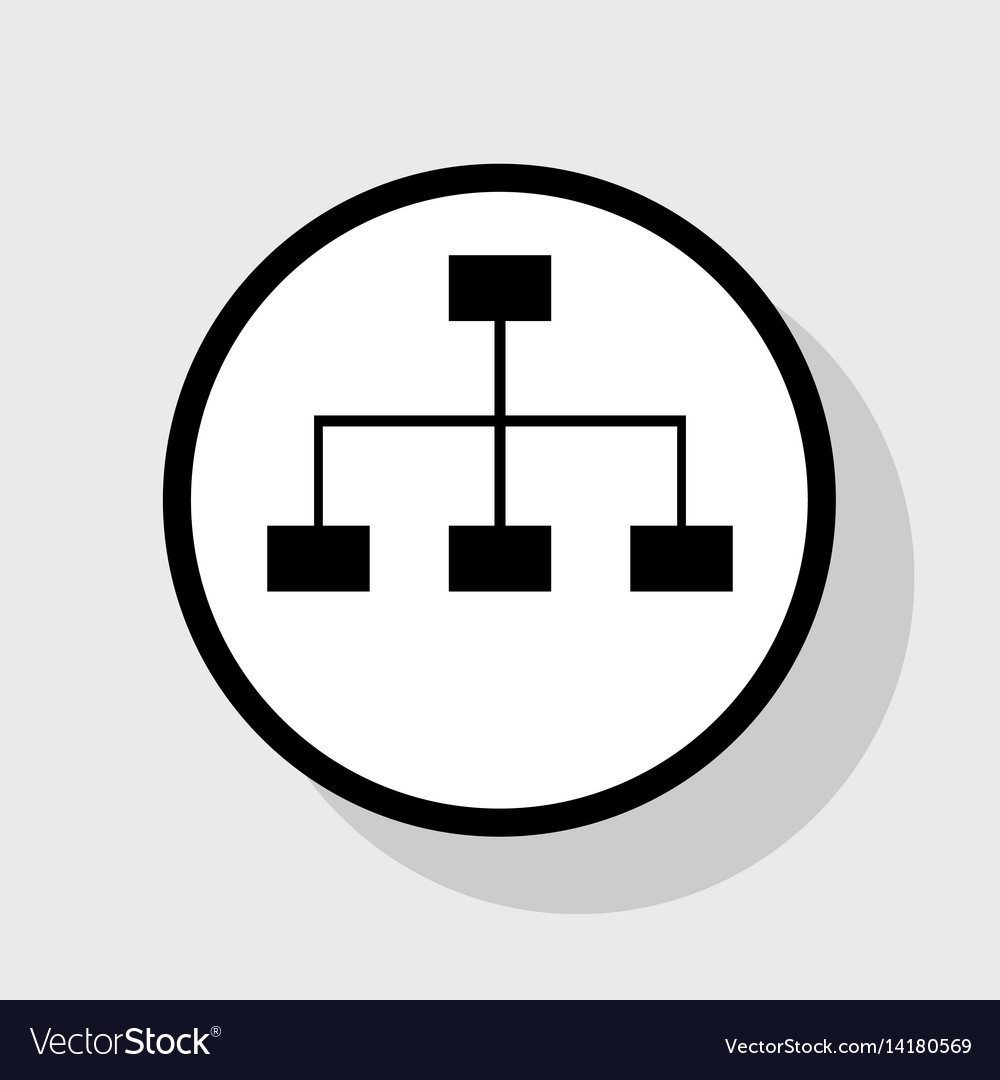 Site map sign flat black icon in white