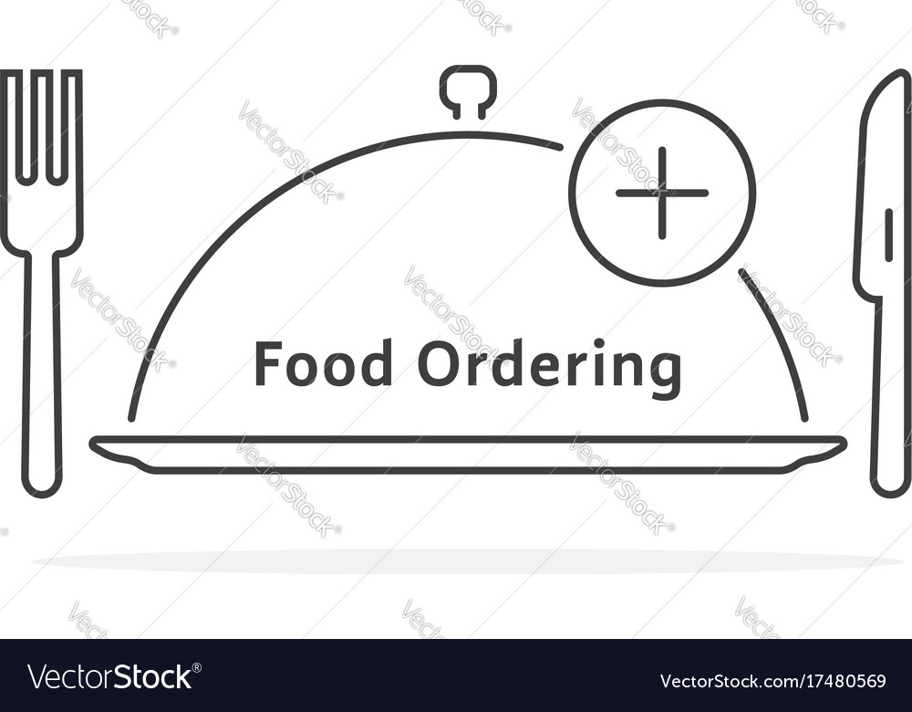 Thin line food ordering with tray
