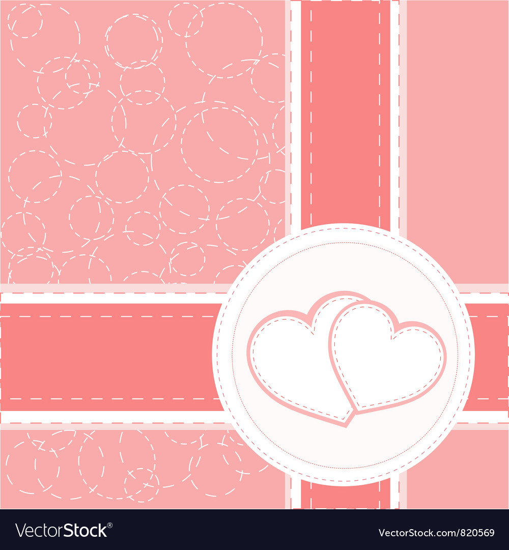 Valentine heart wedding card background vector