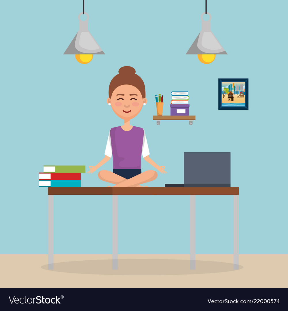 Business Woman Practicing Yoga In Office Desk Vector Image