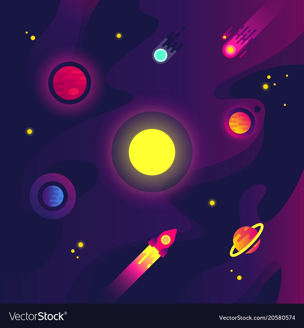 Cartoon space with spacecraft small planets