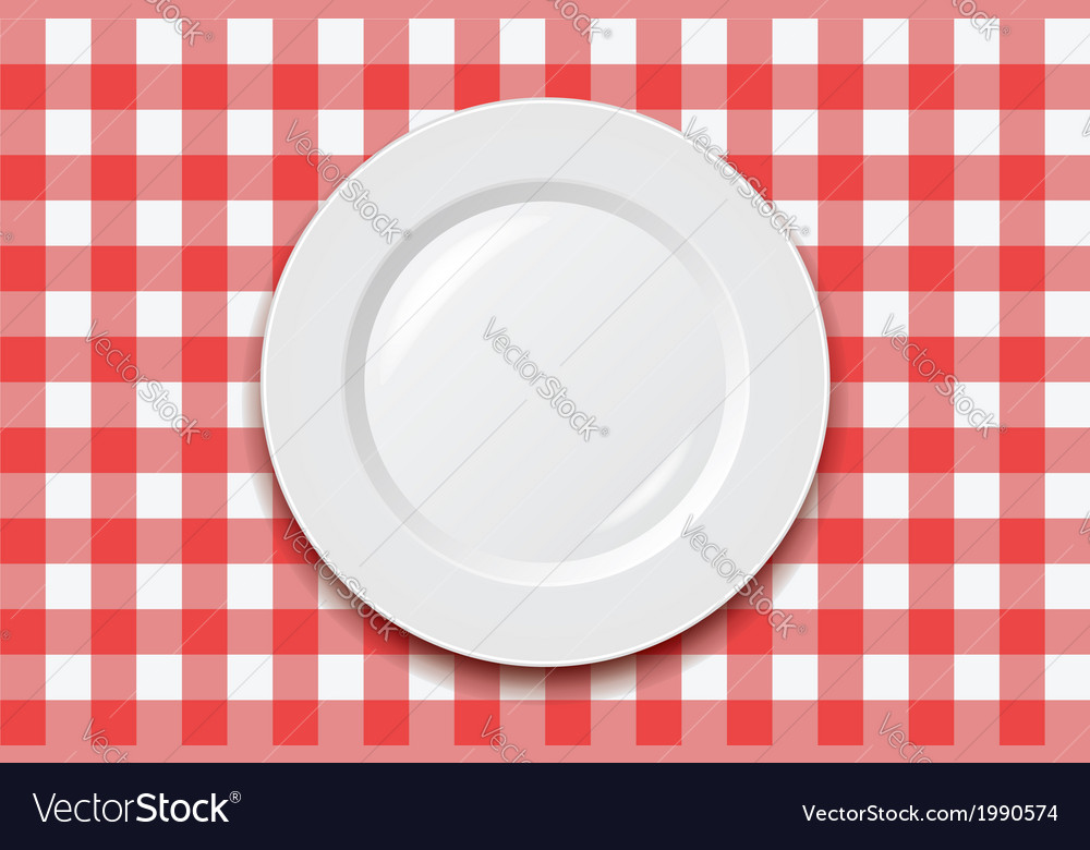 Cooking tablecloth and empty plate