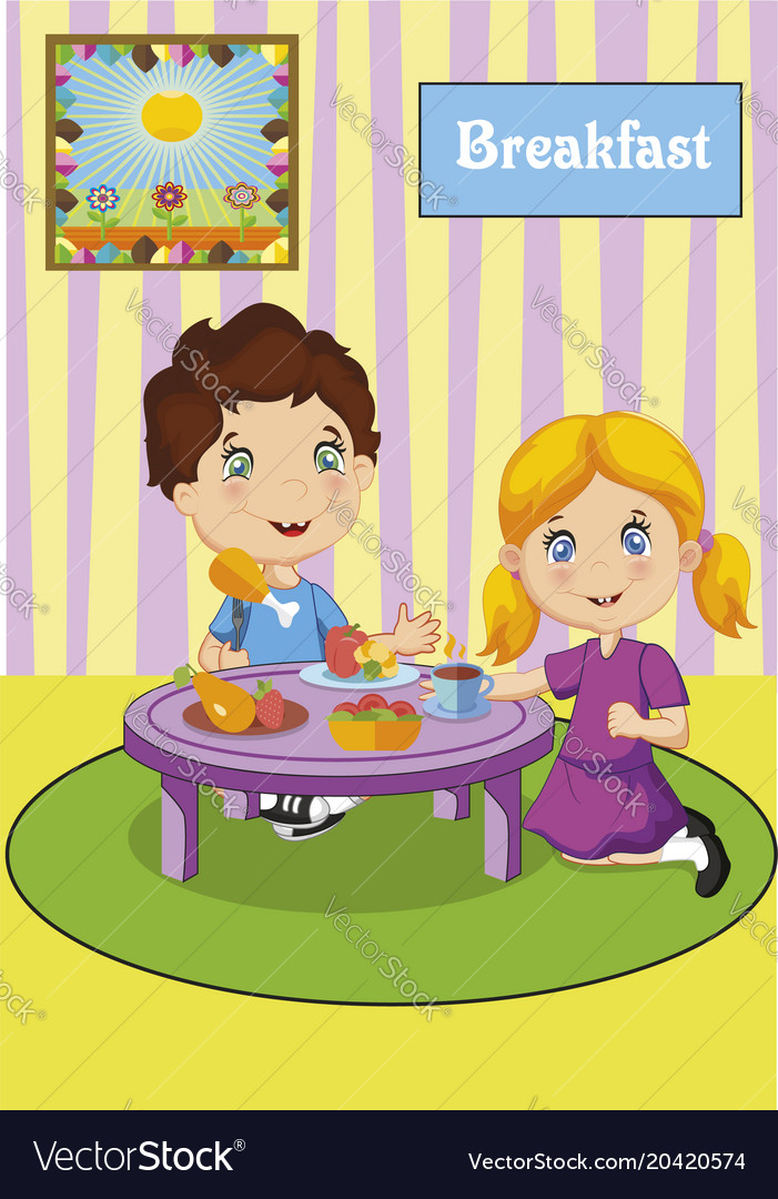 Cute little boy and girl having breakfast vector image