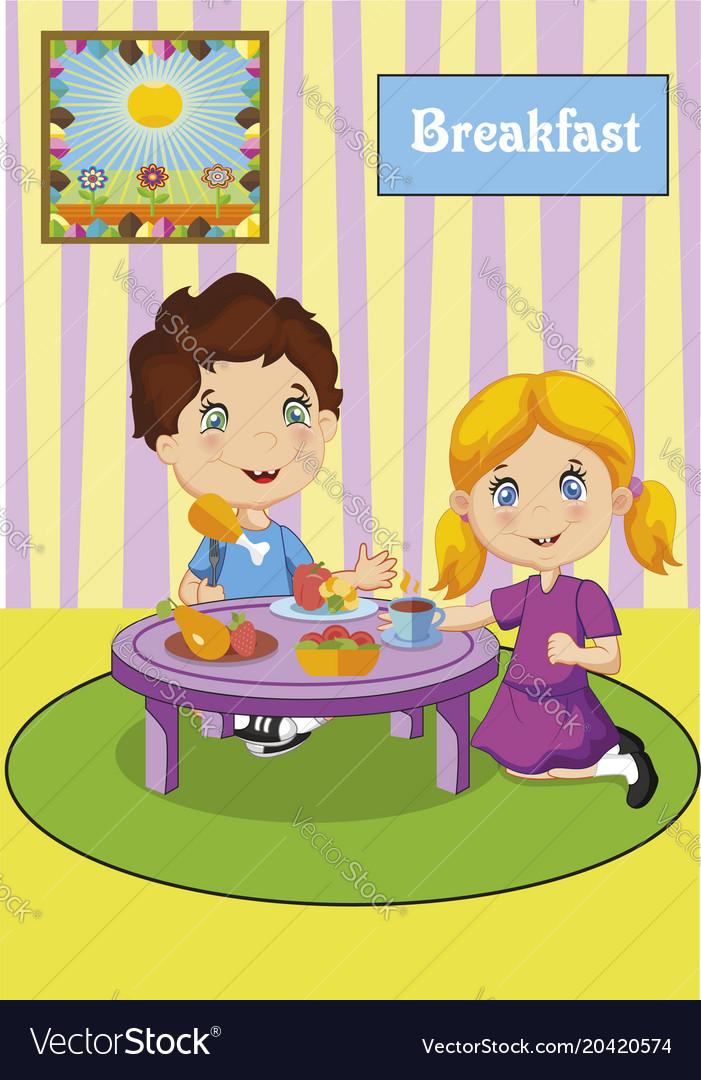 Cute little boy and girl having breakfast