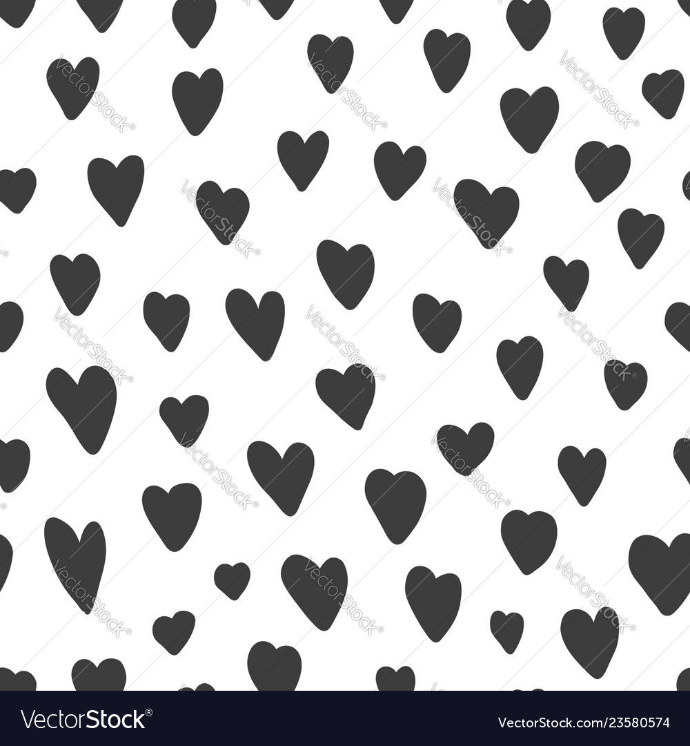 Cute pattern with black hand drawn hearts