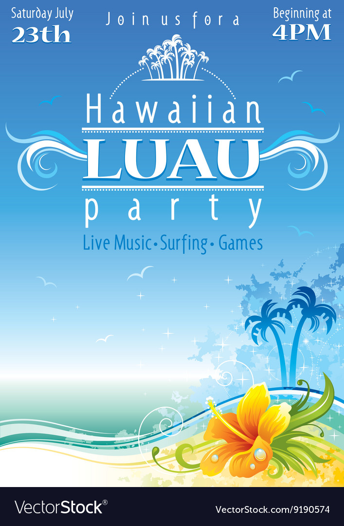 Day beach poster for hawaiian party with hibiscus