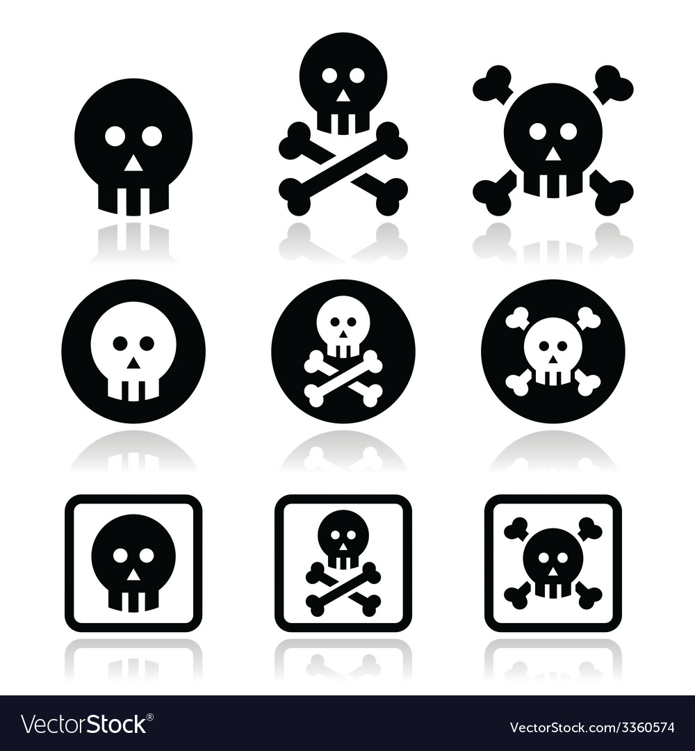 Death skull with bones icons set