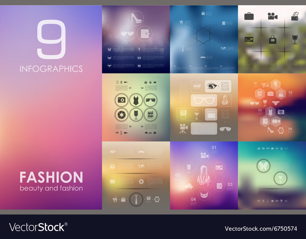 Fashion infographic with unfocused background vector image