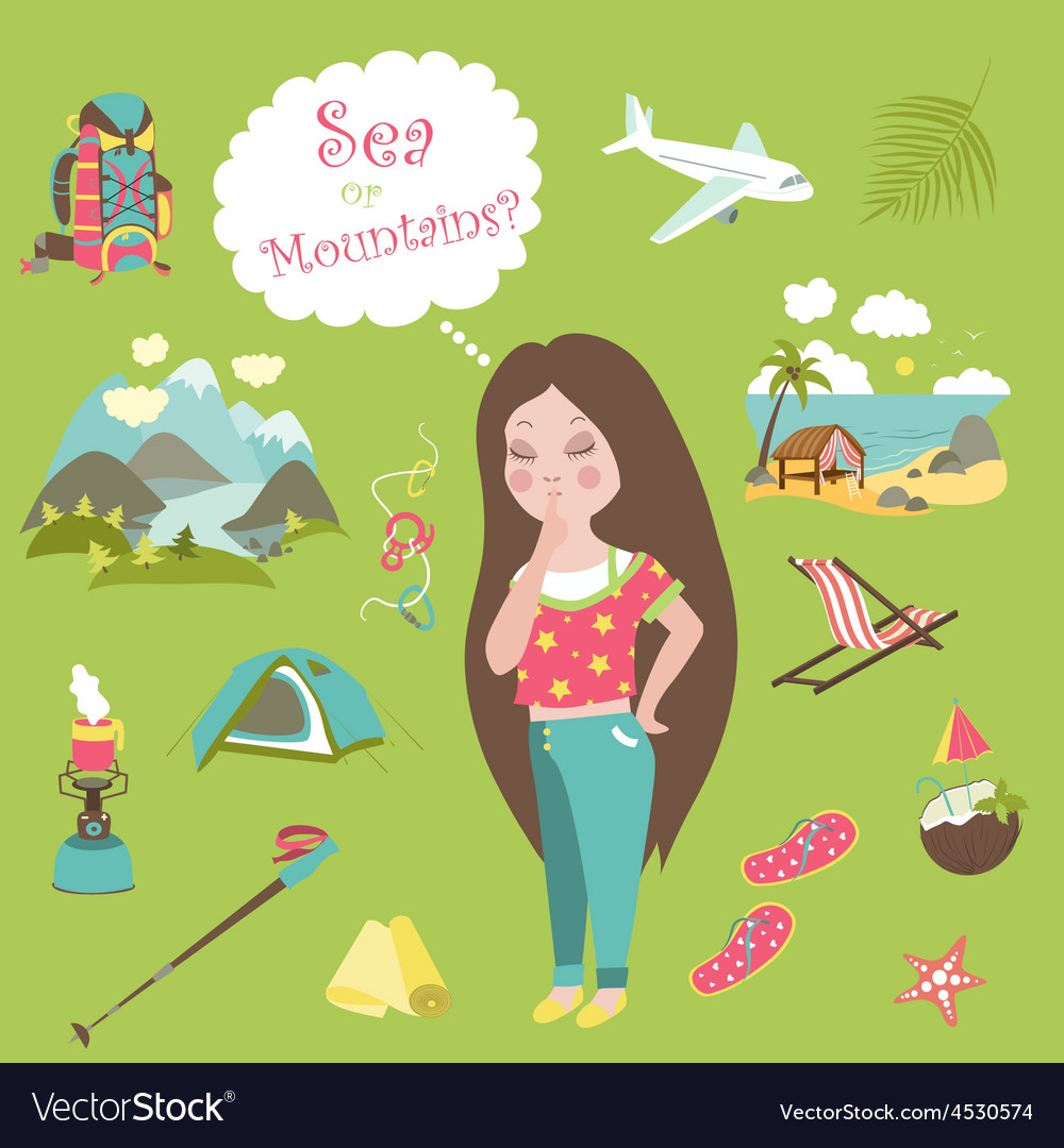 Girl thinks where to travel mountains or sea