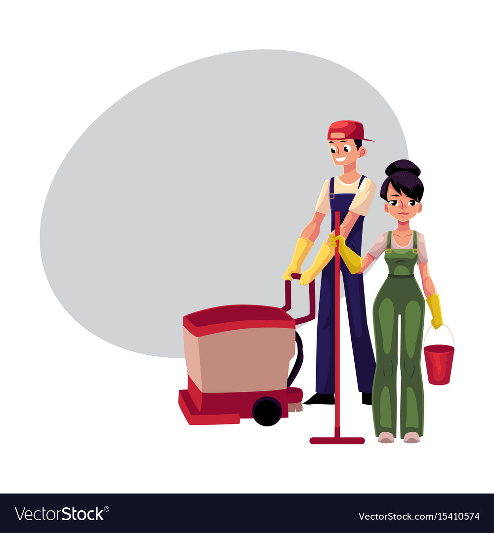 Girl with mop and bucket man using floor cleaning