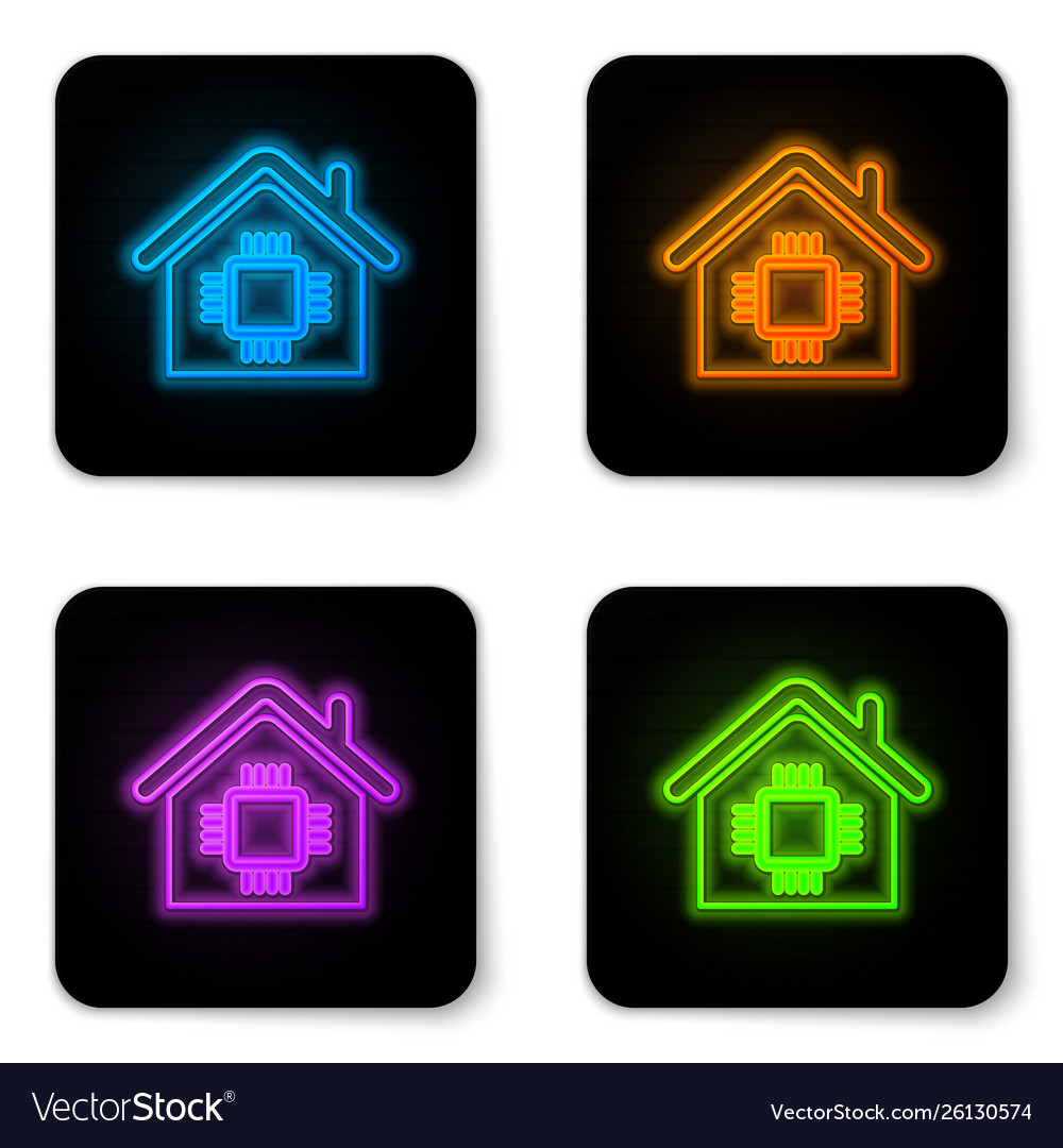 Glowing neon smart home icon isolated on white