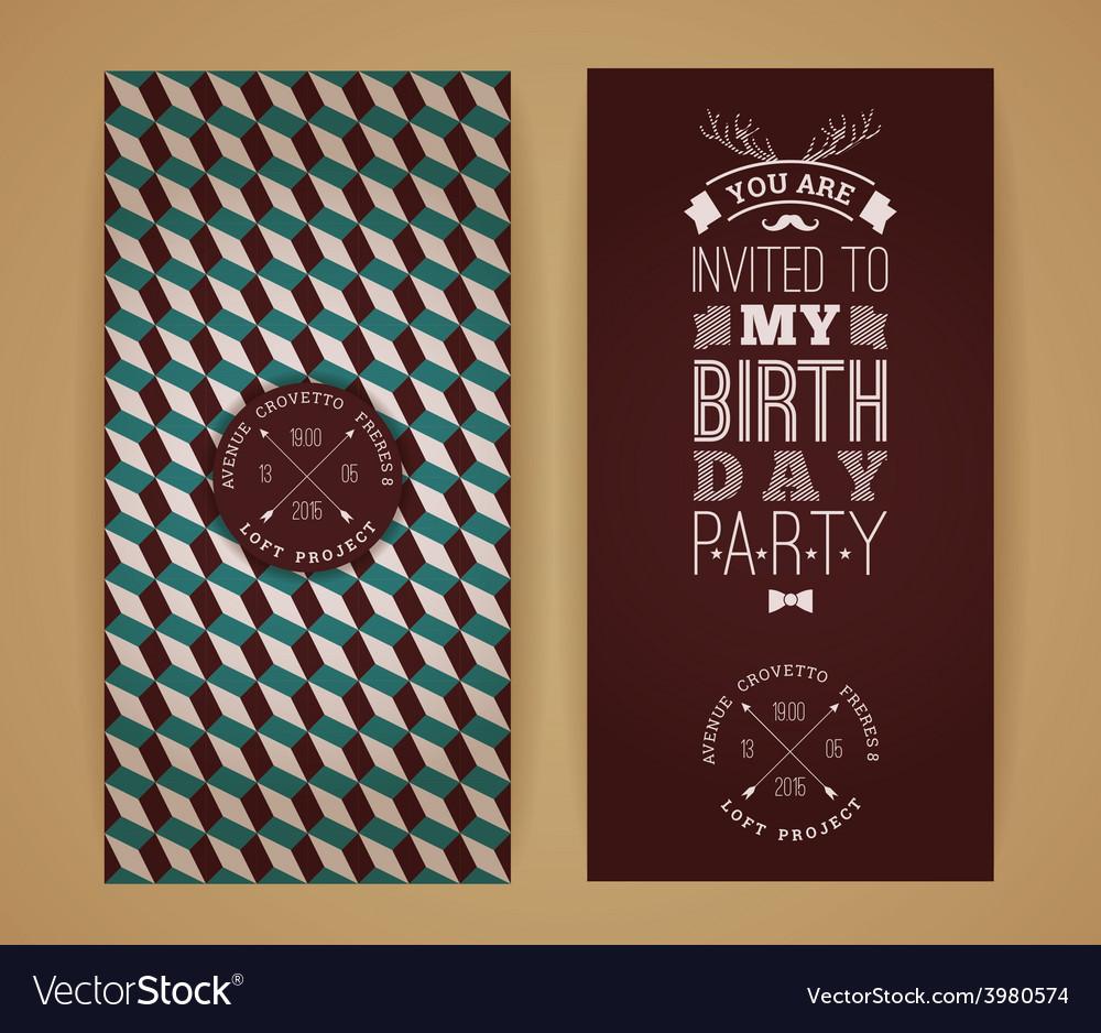 Happy birthday invitation vintage retro background
