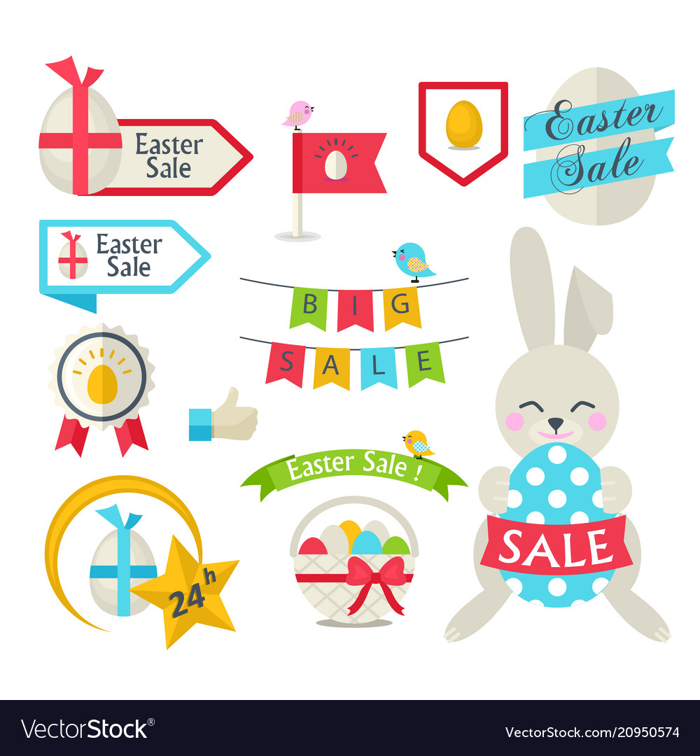 happy easter sale set template royalty free vector image