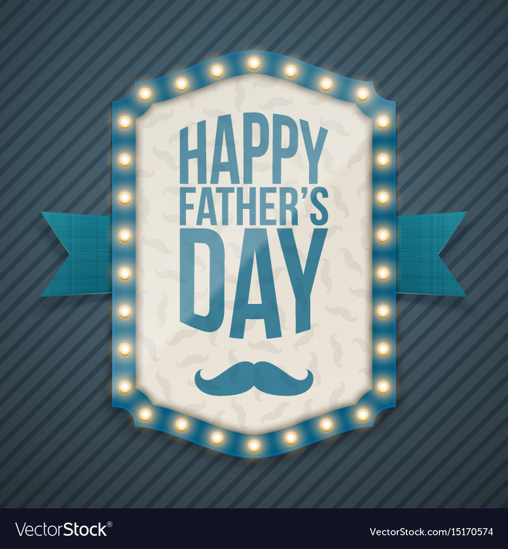 Happy fathers day light banner with ribbon