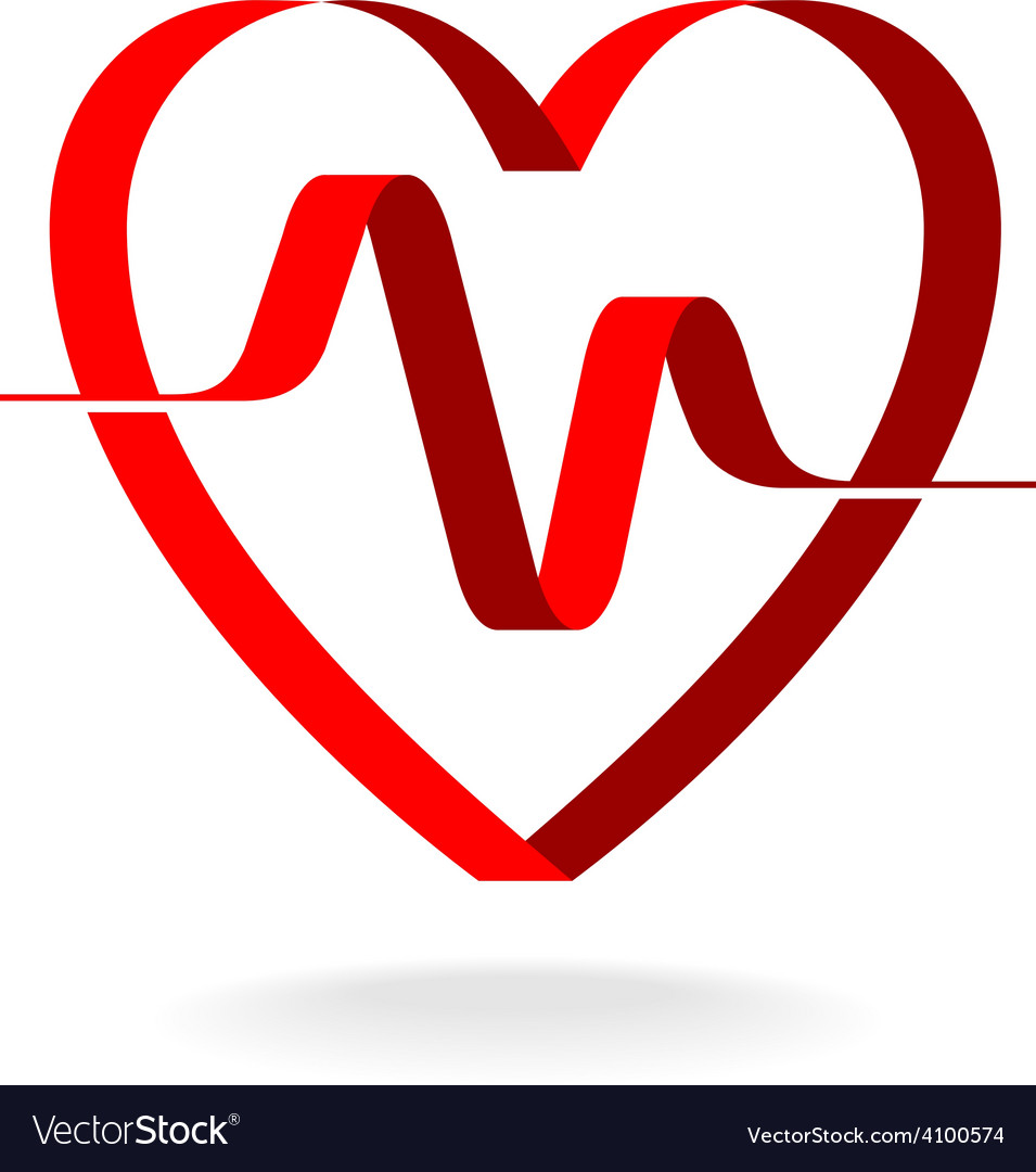 Heart with pulse ribbon logo template Cardiology
