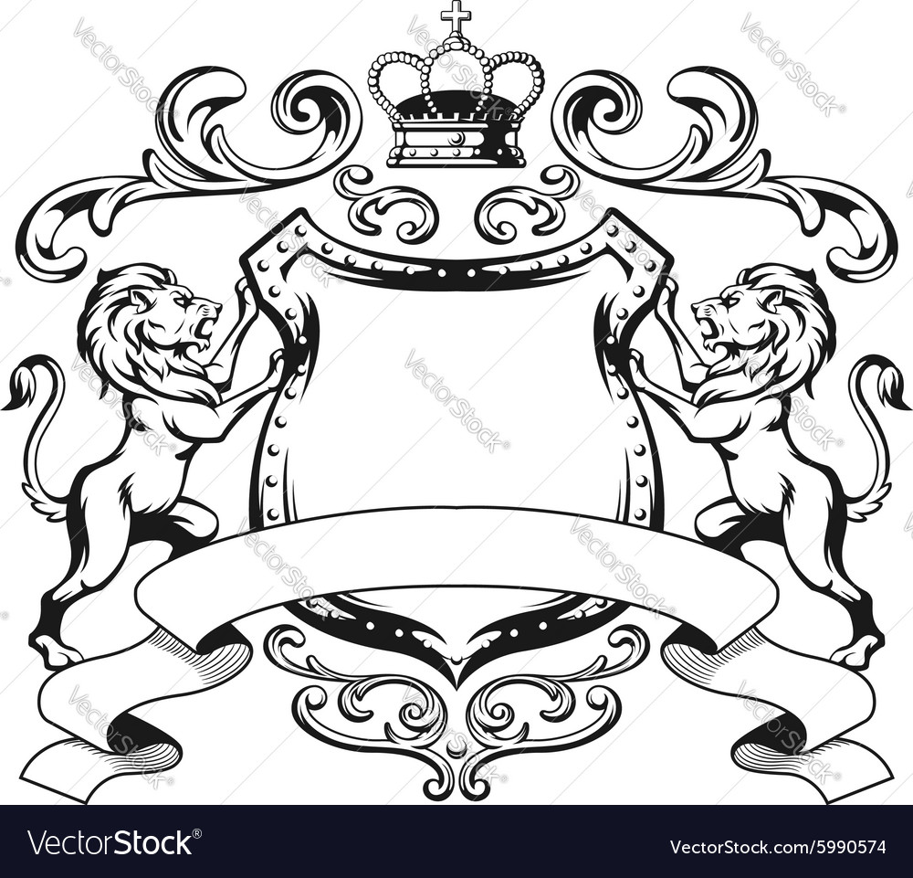 Heraldic Lion Shield Crest Silhouette Royalty Free Vector