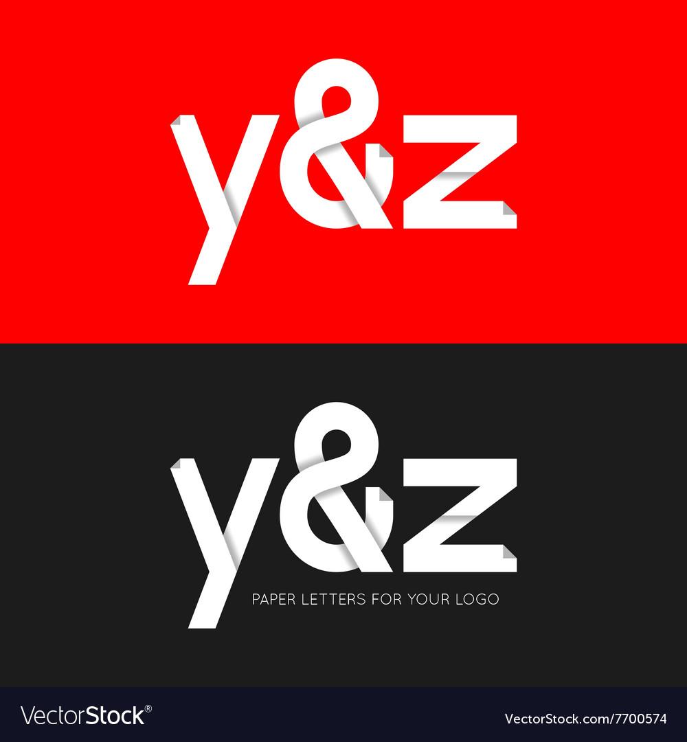 Letter Y and Z logo paper set background