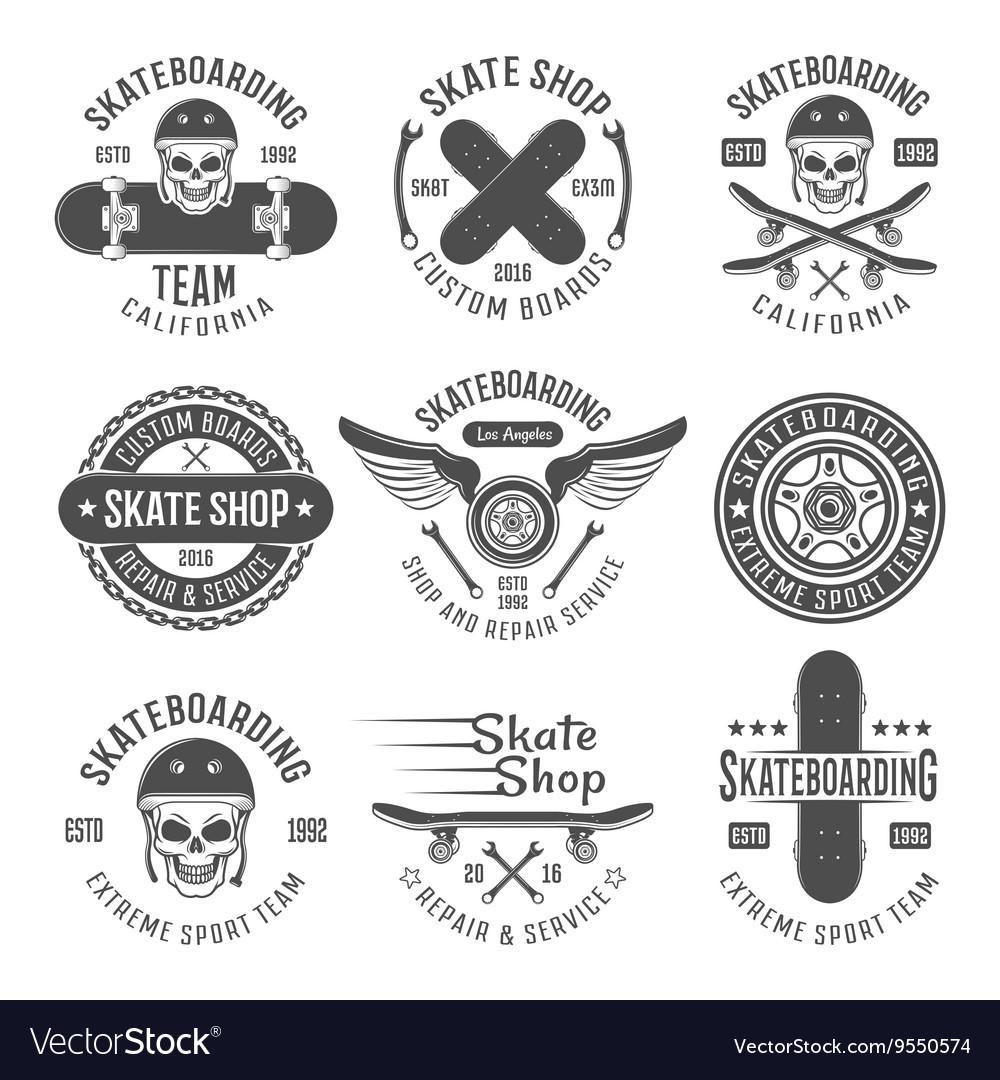 Skateboarding black emblems