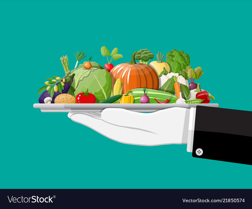 Tray full of vegetables in hand