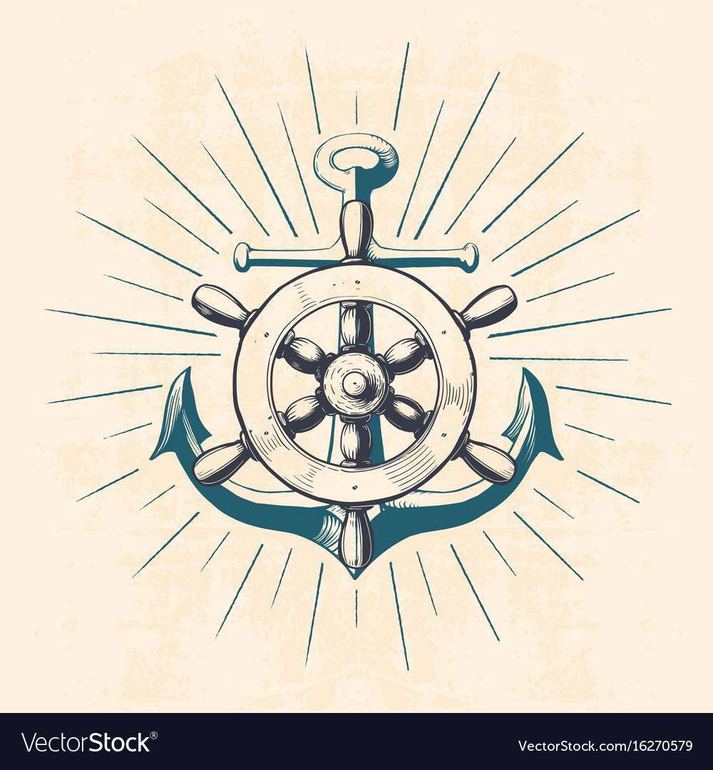 Anchor with navigation wheel vector image