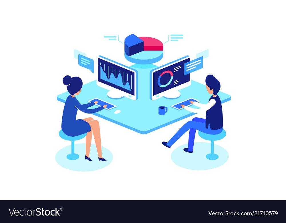 Colleagues working in workplace isometric style