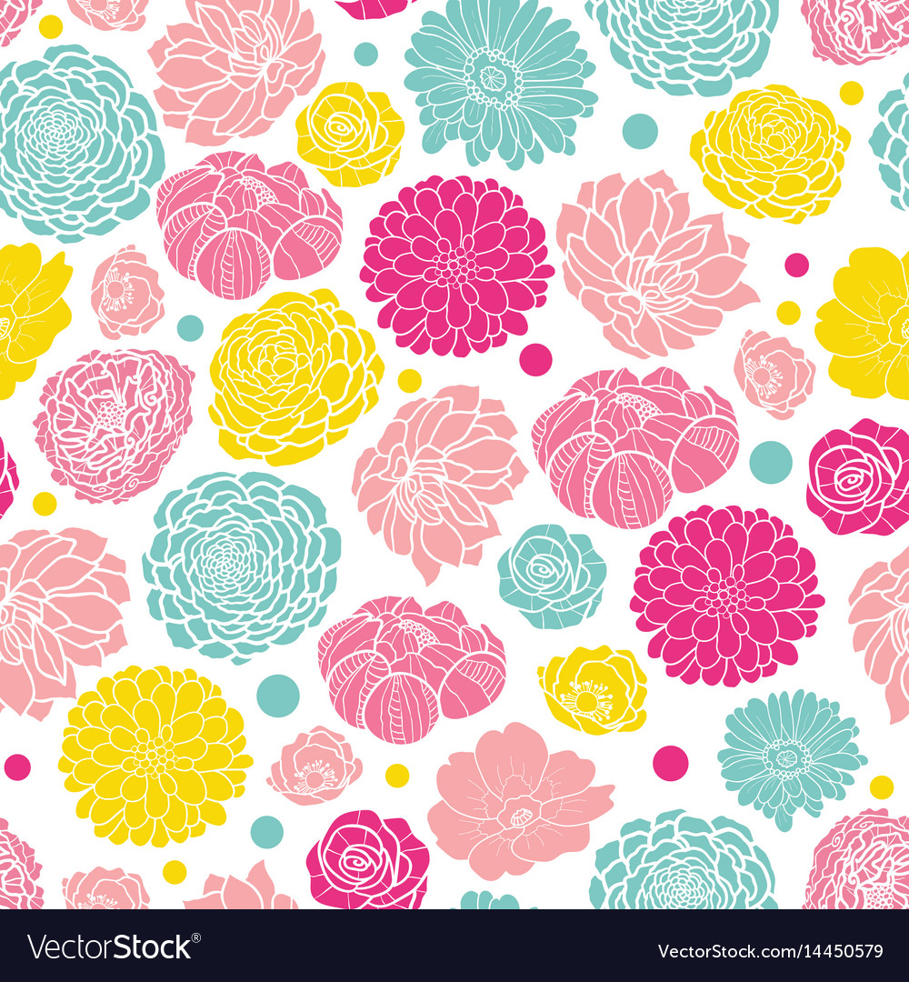 Colorful Spring Flowers Seamless Repeat Royalty Free Vector