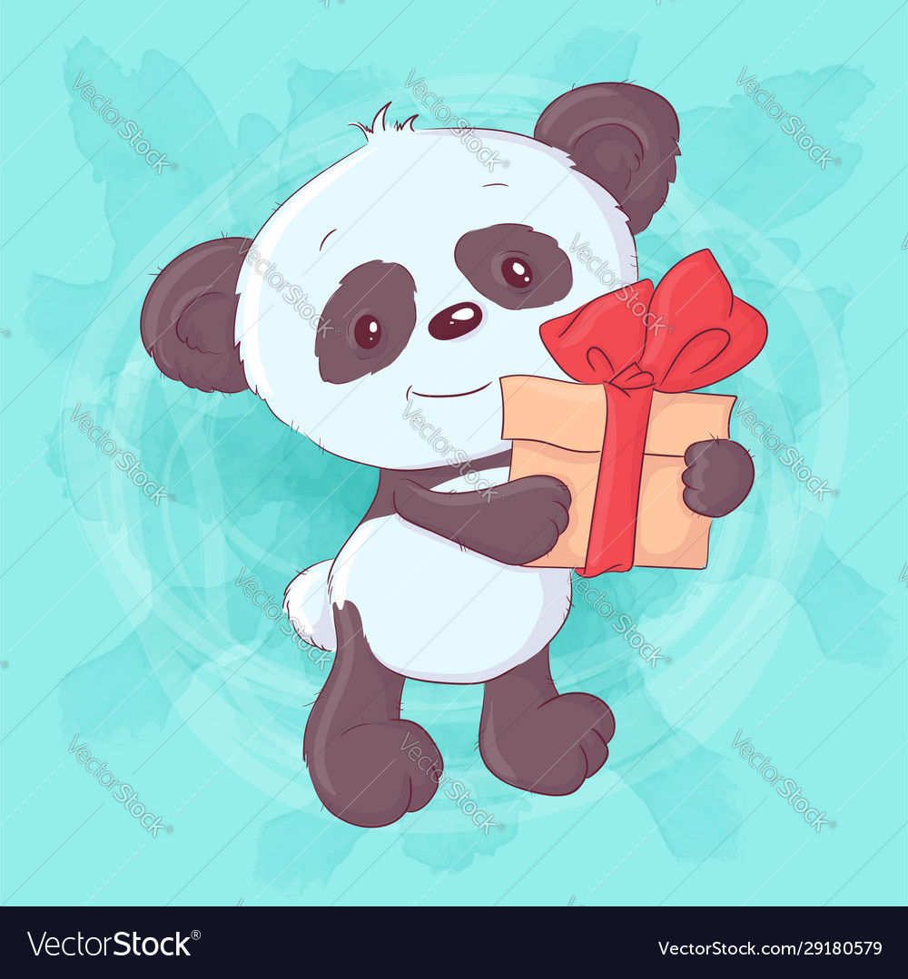 Cute cartoon panda with a gift and bow hand