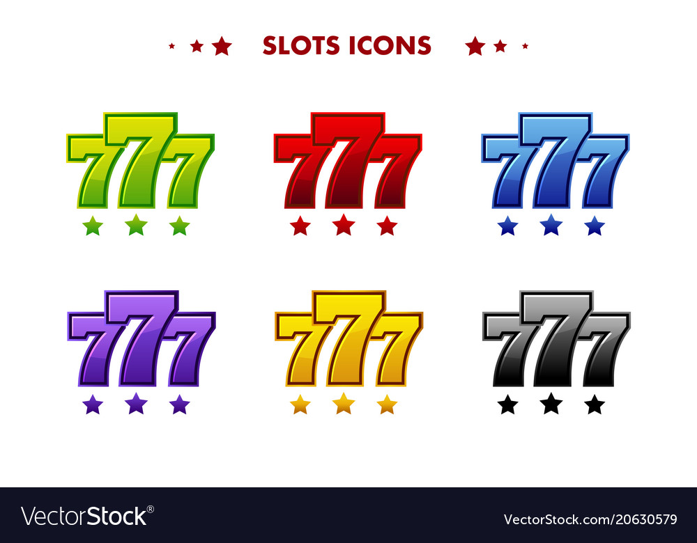 Glossy 777 jackpot symbol colored app icon