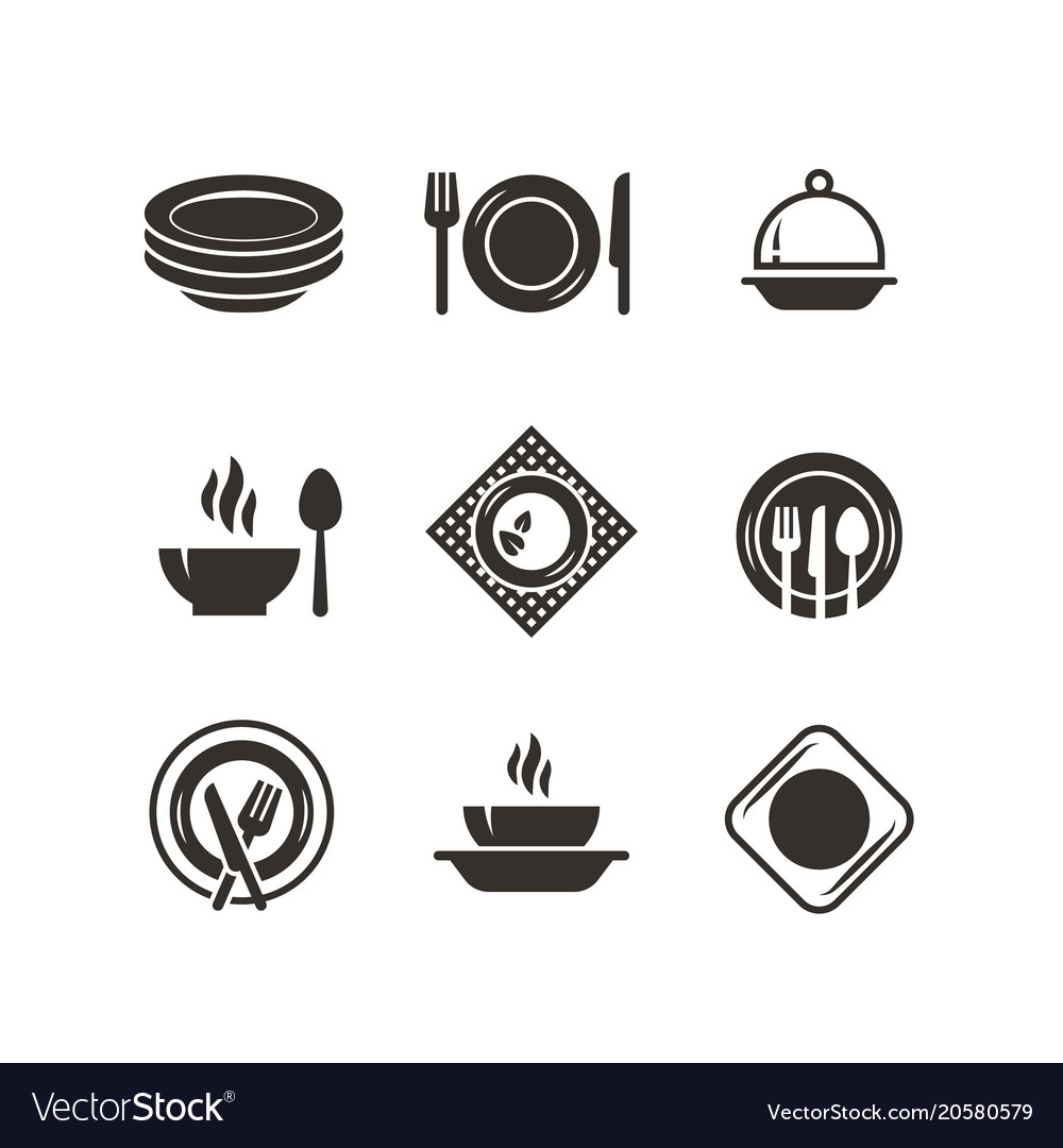 Kitchen plates and cutlery black silhouette icons