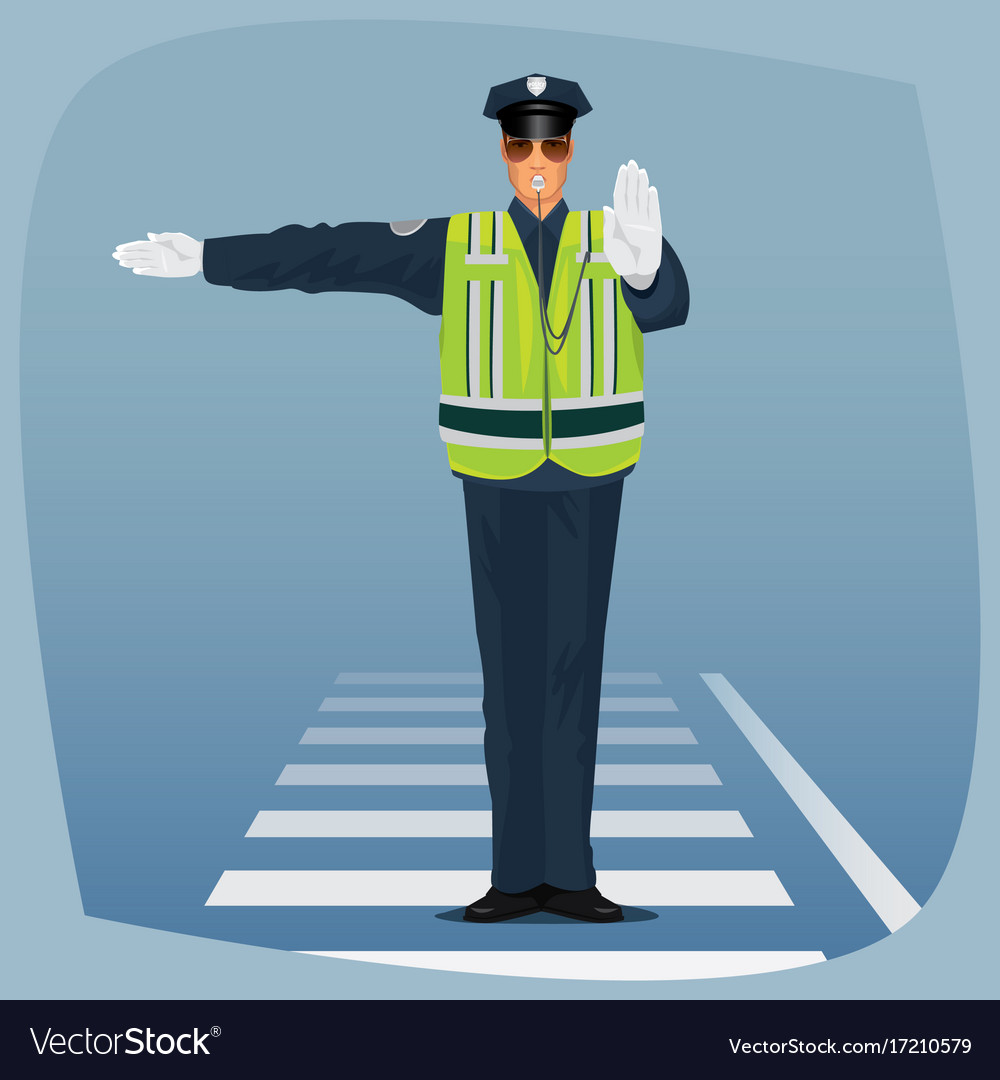 Officer of traffic police standing at crossroads vector image