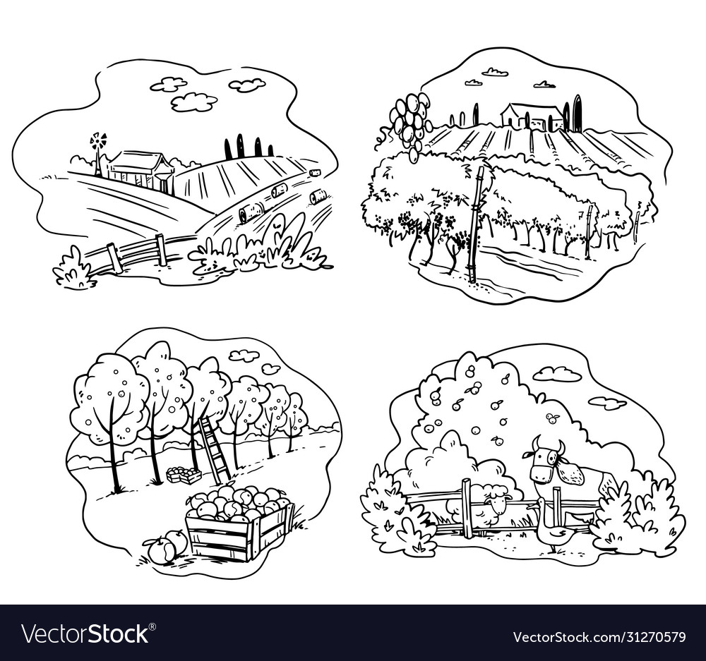 Set farming icons apple cattle farm and