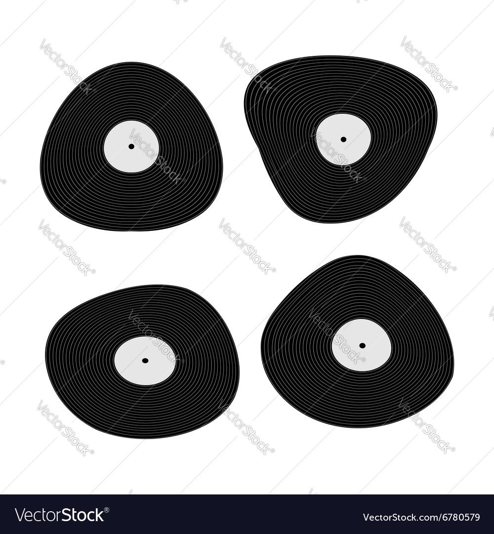 Set music black vinyl Retro plate