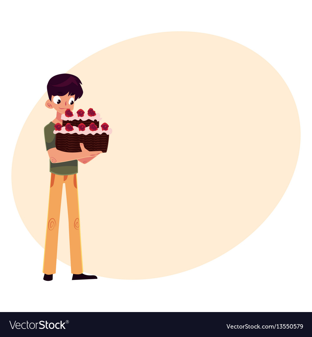 Teenage boy holding chocolate birthday cake with vector image