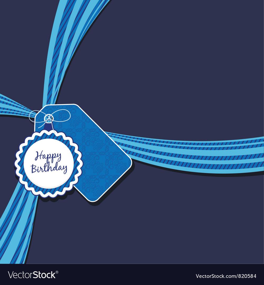 Blue birthday ribbon vector image